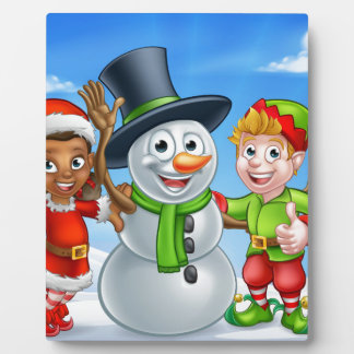 Cartoon Christmas Snowman and Elf Santas Helpers Plaque