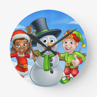 Cartoon Christmas Snowman and Elf Santas Helpers Round Clock