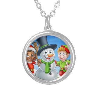 Cartoon Christmas Snowman and Elf Santas Helpers Silver Plated Necklace