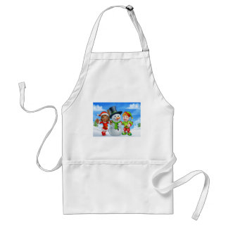 Cartoon Christmas Snowman and Elf Santas Helpers Standard Apron