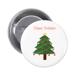 Cartoon Christmas Tree Happy Holidays 2 Inch Round Button