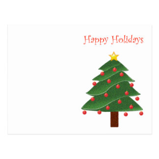 Cartoon Christmas Tree Happy Holidays Postcard
