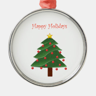 Cartoon Christmas Tree Happy Holidays Silver-Colored Round Ornament