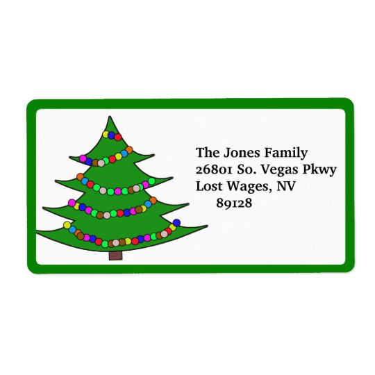Cartoon Christmas Tree Shipping Label