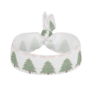 Cartoon Christmas Tree with Ornaments Drawing Hair Tie