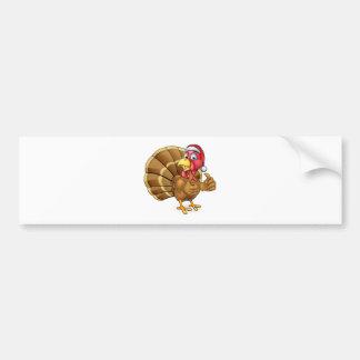 Cartoon Christmas Turkey Bird in Santa Hat Bumper Sticker