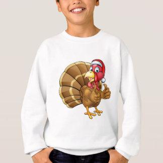 Cartoon Christmas Turkey Bird in Santa Hat Sweatshirt