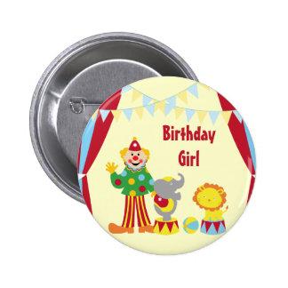 Cartoon Circus Clown and Animals Birthday Girl But 2 Inch Round Button