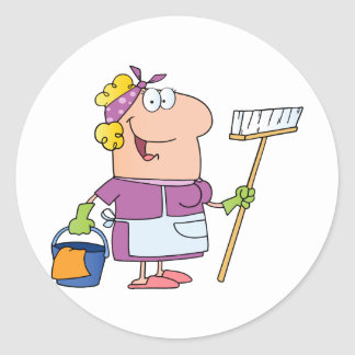 Cartoon Cleaning Lady Classic Round Sticker