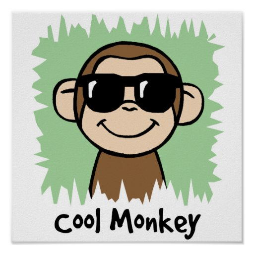 Cartoon Clip Art Cool Monkey with Sunglasses Posters