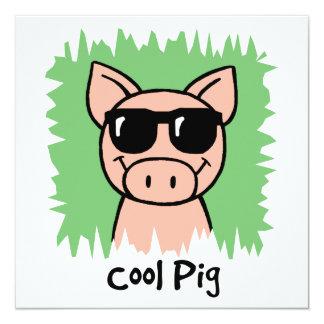"Cartoon Clip Art Cool Pig Sunglasses Boy Birthday 5.25"" Square Invitation Card"