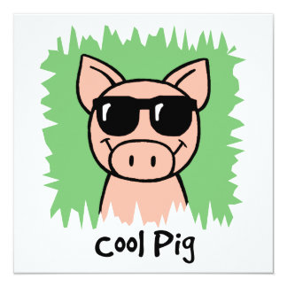 Cartoon Clip Art Cool Pig Sunglasses Boy Birthday Custom Invites