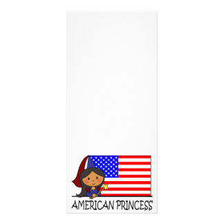 Cartoon Clip Art Cute American Princess Flag Personalized Rack Card