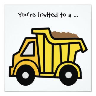 "Cartoon Clip Art Dump Truck Boy Birthday Party 5.25"" Square Invitation Card"