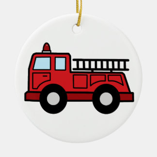 Cartoon Clip Art Firetruck Emergency Vehicle Truck Ceramic Ornament