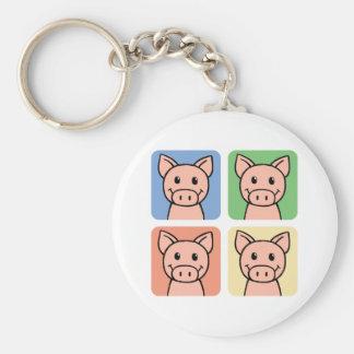 Cartoon Clip Art Laughing Piggie Piggy Pigs! Basic Round Button Keychain