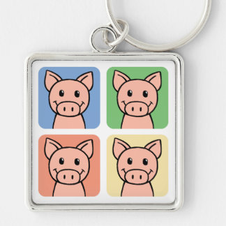 Cartoon Clip Art Laughing Piggie Piggy Pigs! Silver-Colored Square Keychain
