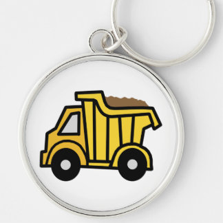 Cartoon Clip Art with a Construction Dump Truck Silver-Colored Round Keychain