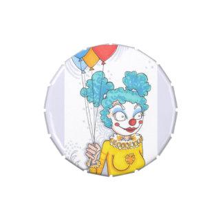 Cartoon Clown Girl w/ Balloons Art Candy Gift Tin