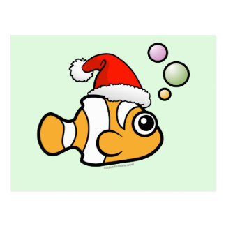 Cartoon Clownfish Santa Postcard