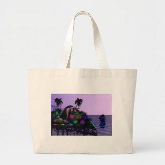 Cartoon Cobra on Island Large Tote Bag