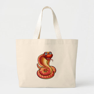 Cartoon Cobra Snake Character Large Tote Bag