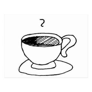 Cartoon Coffee Cup Gear Postcard