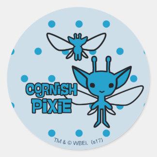 Cartoon Cornish Pixie Character Art Classic Round Sticker