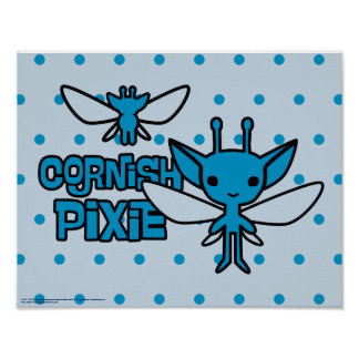 Cartoon Cornish Pixie Character Art Poster