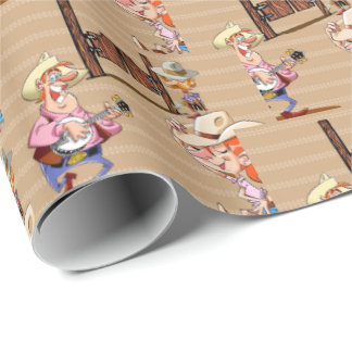 Cartoon Country Bar Banjo Cowgirl Sherrif Wrapping Paper