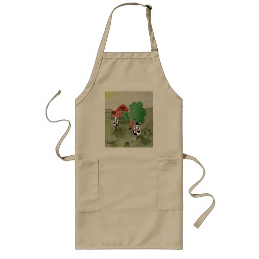 cartoon cow and bull in a field together with barn apron