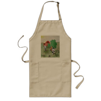 cartoon cow and bull in a field together with barn long apron