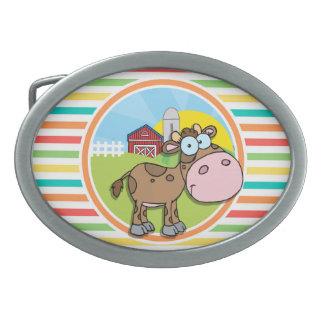 Cartoon Cow; Bright Rainbow Stripes Oval Belt Buckles