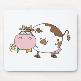 Cartoon Cow Color White Mouse Pad