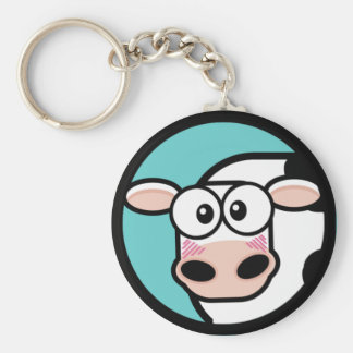 Cartoon Cow Customizable Keychain