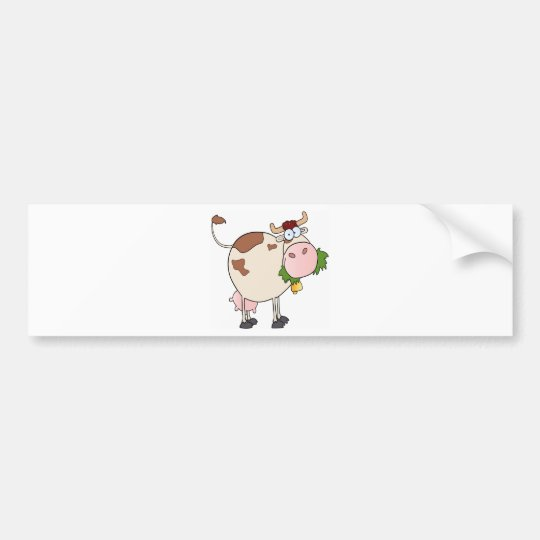 Cartoon cow eating grass bumper sticker