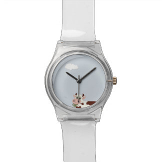 Cartoon Cow Eating Leaves Wristwatch