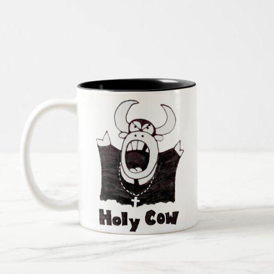 Cartoon Cow | Holy Cow Products Two-Tone Coffee Mug
