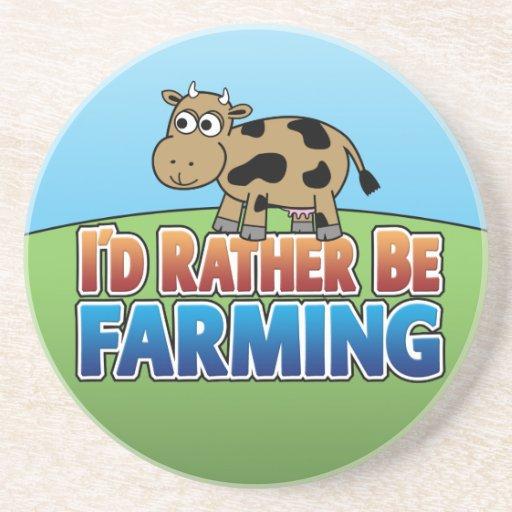 Cartoon Cow - I'd Rather Be Farming Coasters