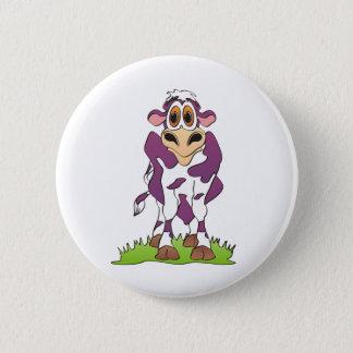 Cartoon Cow Purple 2 Inch Round Button