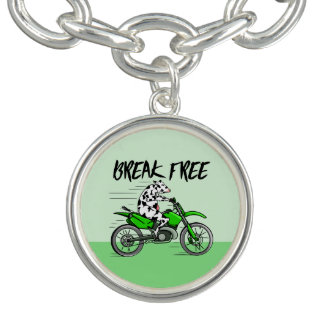 Cartoon cow riding a motorbike charm bracelets