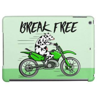 Cartoon cow riding a motorbike cover for iPad air