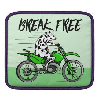 Cartoon cow riding a motorbike iPad sleeve
