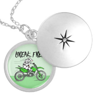 Cartoon cow riding a motorbike silver plated necklace
