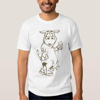 Cartoon Cow with a Glass of Milk Men's T Shirt