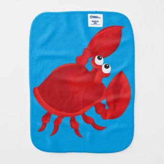 Cartoon crab baby burp cloth