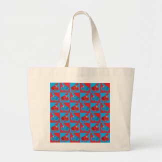 Cartoon crab mosaic large tote bag