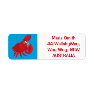Cartoon crab return address label