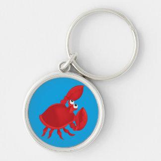 Cartoon crab Silver-Colored round keychain