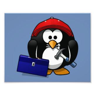 Cartoon Craftsman Penguin with Blue Background Photo Art
